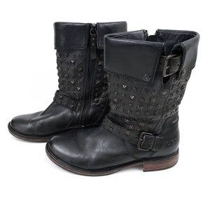 UGG Black Leather Connor Biker Studded Moto Boots